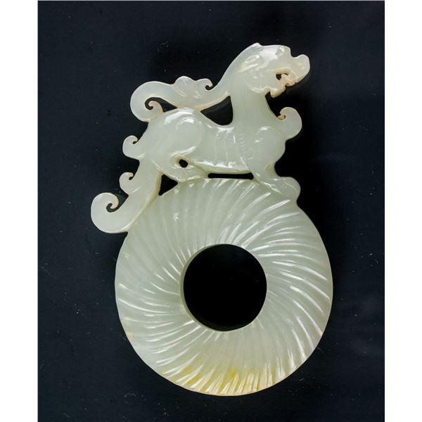 Chinese Carved Hetian White Jade Chilong Disk