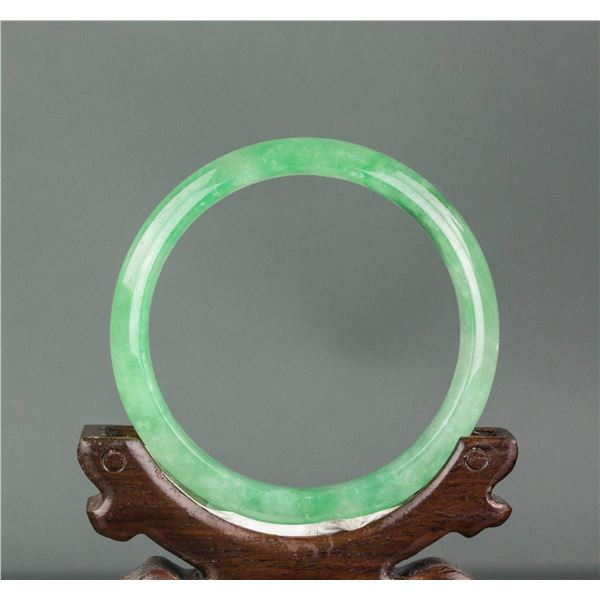 Burma Fine Green Jadeite Carved Bangle