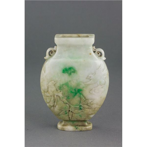 Burma White Jadeite Carved Vase