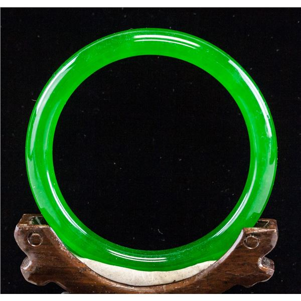 Chinese Imperial Apple Green Jadeite Bangle GIA