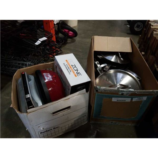 2 boxes of pots, pans, stability ball and more