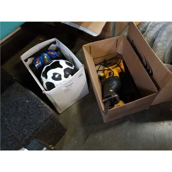 Dewalt 20v reciprocating saw and drill with 18V battery and box of soccer ball with RC