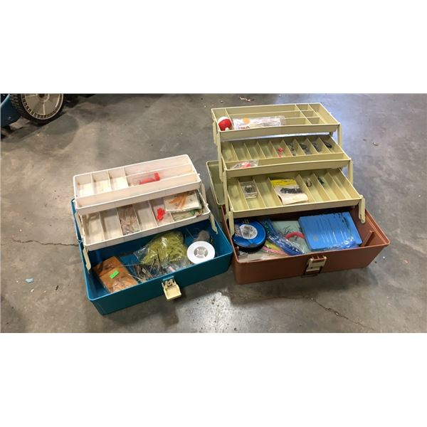 2 Tackle boxes with fishing lures and tackle