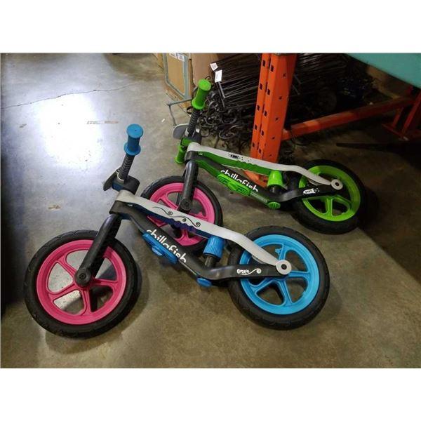 2 CHILLAFISH KIDS BALANCE BIKES - NO SEATS