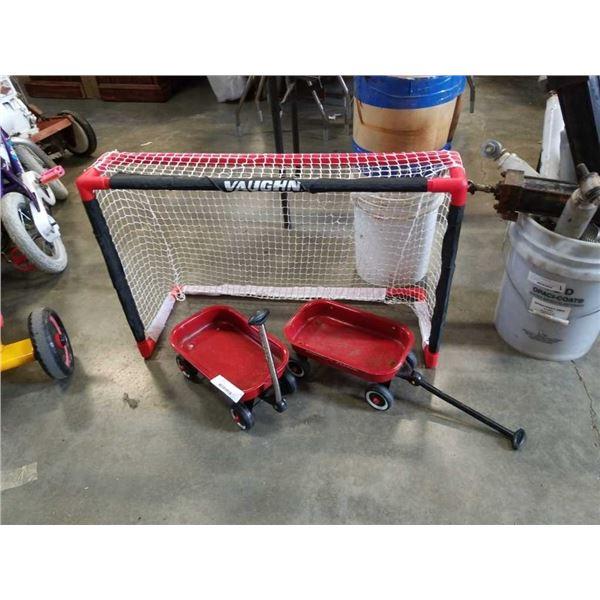 2 mini radio flyer wagons and mini hockey net