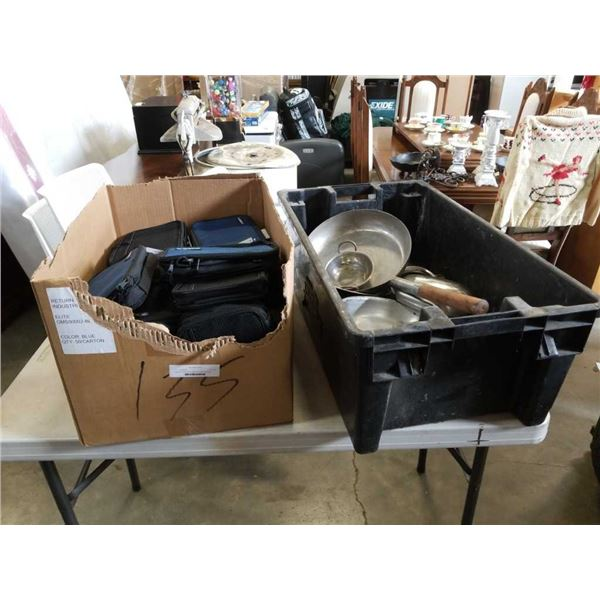 Large tote and box of camping cookware and chill med bags