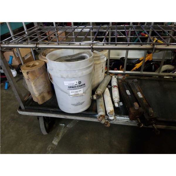 Two buckets of coil springs, two heat resistant belts with shocks and pneumatic cylinders