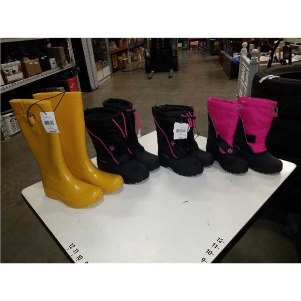 4 pairs of new kids boots size 12, 3 and 7