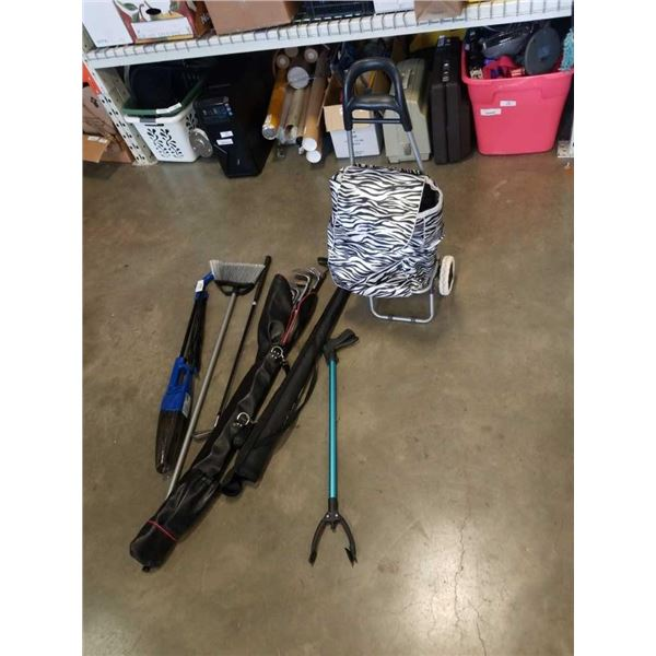 LOT OF GOLF CLUBS, GRABBER, BROOM AND SHOPPING CART