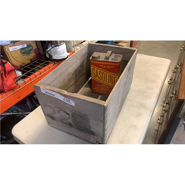 WOOD CRATE AND GAS CAN