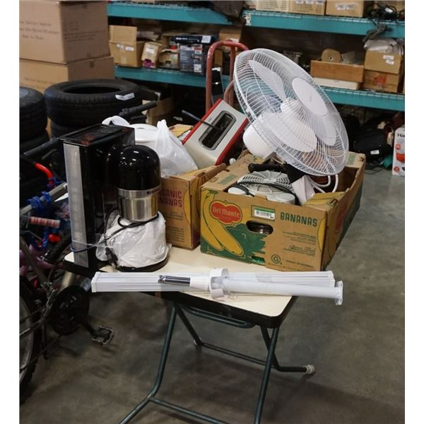 2 BOXES OF KITCHEN ITEMS, APPLIANCES, COPPER POT ON STAND, COFFEE MAKER, FAN