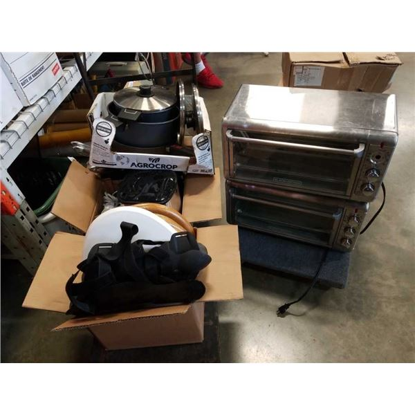 4 boxes of pans, pots, appliances and toilet seats
