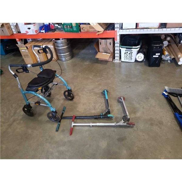 2 SCOOTERS AND MOBILITY WALKER