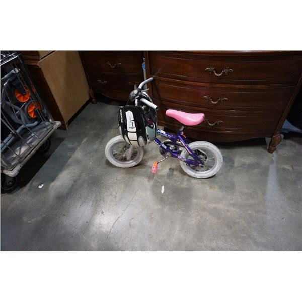 Purple kids magna bike with bmx helmet