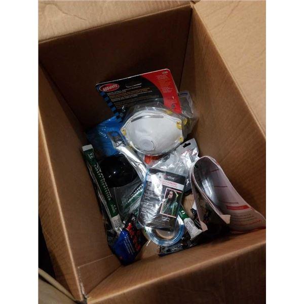 Box of filter masks, emergency ponchos, safety light sticks and more