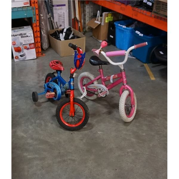 SPIDERMAN AND CUPCAKE KIDS BIKES