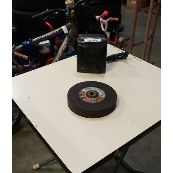 4 WALTER 9 INCH ABRASIVE DISCS AND HONEYWELL HEATER