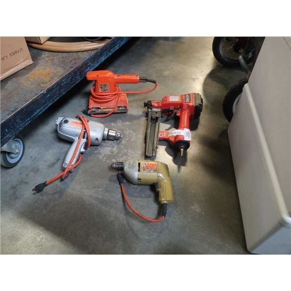 ATRO AIR NAILER, 2 ELECTRIC DRILLS AND ELECTRIC SANDER