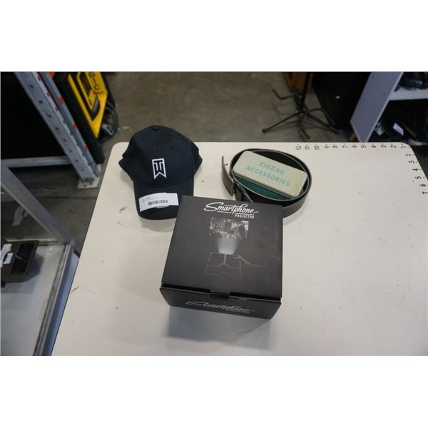 NIKE TIGER WOODS HAT, PHONE PROJECTOR, BUFFALO BRAND LEATHER BELT AND ZIGZAG ACCESSORIES CASE