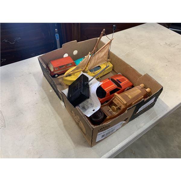 Wood racer, wooden sailboat, a sah remote control Camaro Z28 e, Buddy L, vintage Tonka van