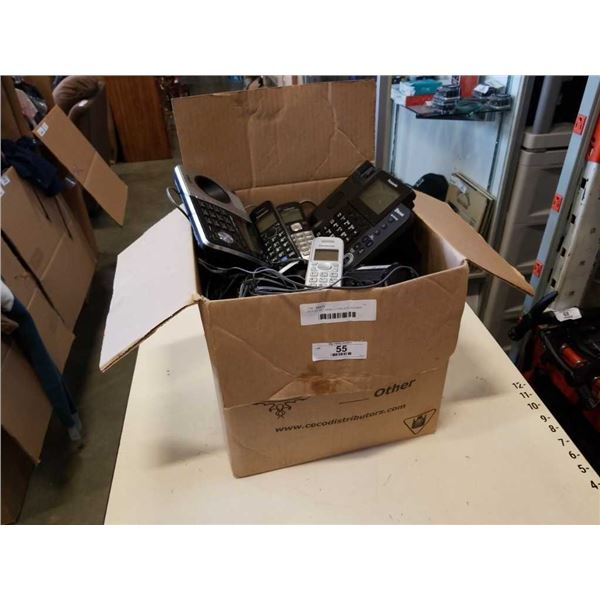 BOX OF RETURNED CORDLESS PHONES