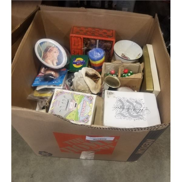 LARGE BOX OF ESTATE GOODS, COLLECTABLES, SHELL,