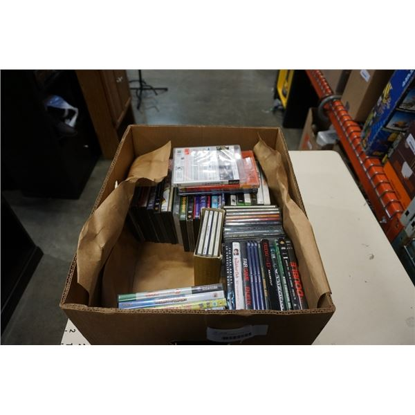 BOX OF VIDEOGAMES, DVDS, CDS