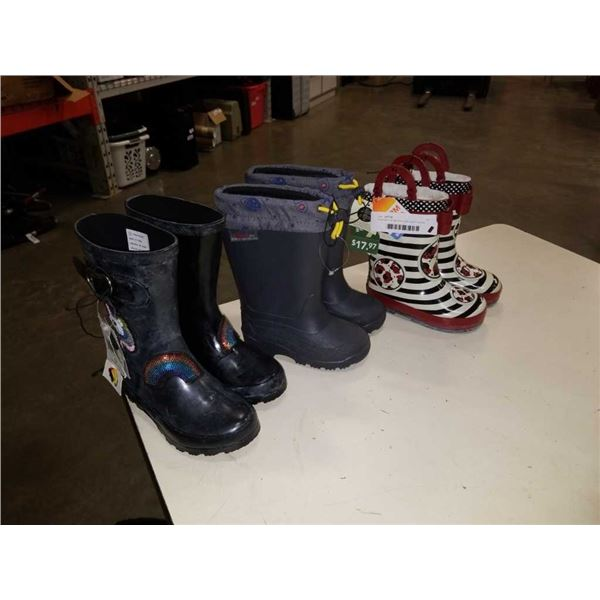 Three pairs of new kids boots size 7, 8 and 12