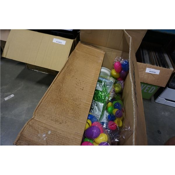 BOX OF EASTER EGGS AND DECOR