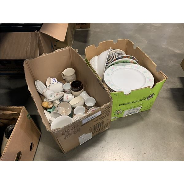 Box of china dishes and box of china cups