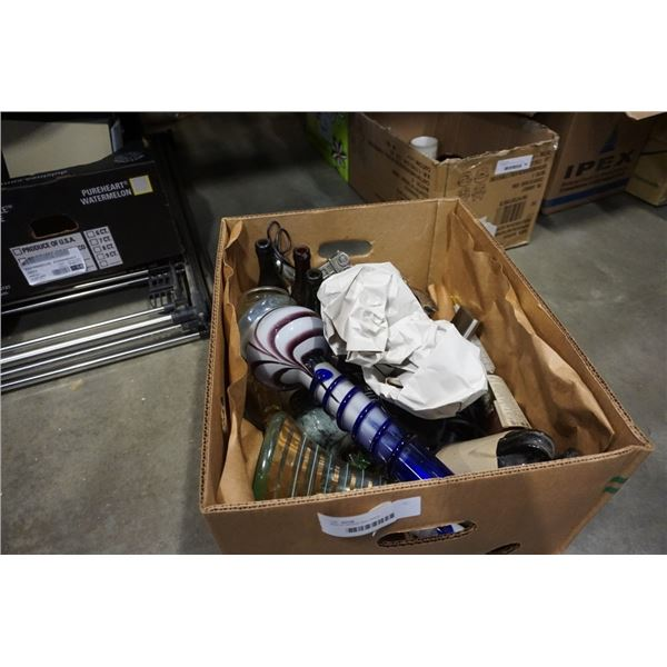 BOX OF BONGS AND PIPES, VASES, GLASSES