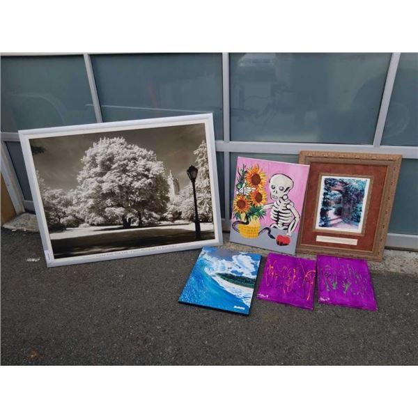LOT OF PRINTS AND PAINTINGS AND CD RACK