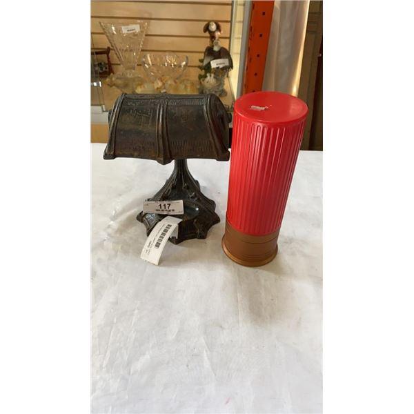 CAST IRON LAMP, NO WIRING AND SHOTGUN SHELL COIN BANK