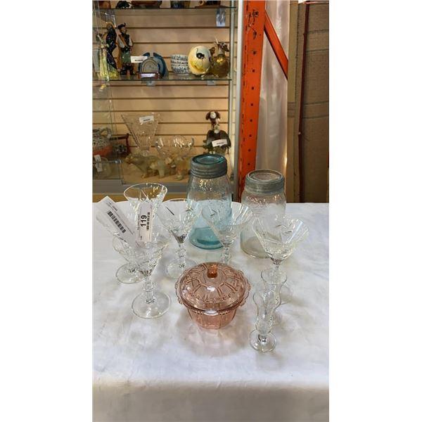 6 CRYSTAL GLASSES, LIDDED DEPRESSION GLASS DISH,VINTAGE  COLORED MASON JAR AND CROWN MASON JAR, AND