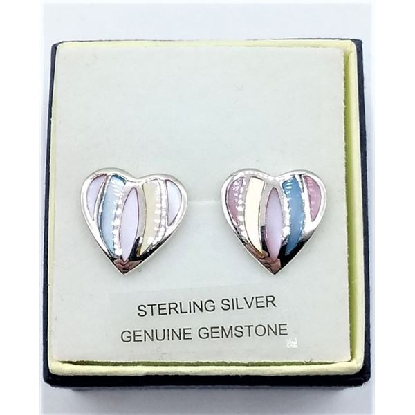STERLING SILVER BEAUTIFUL HEART SHAPE INLAID MOTHER OF PEARL EARRINGS RHODIUM PLATED RETAIL $300