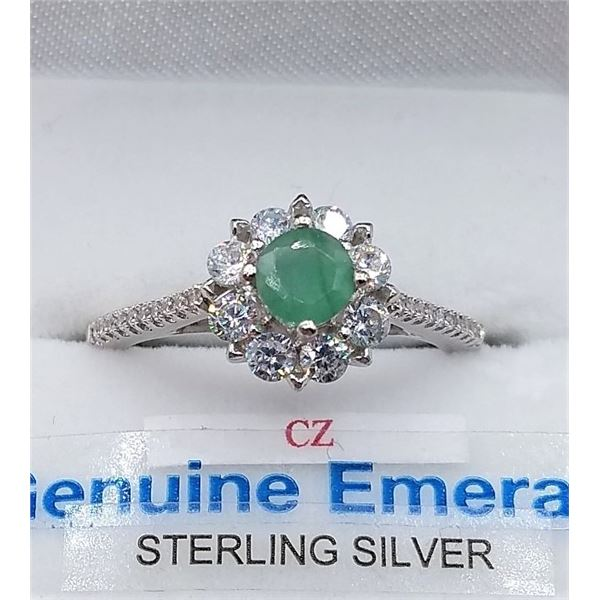 STERLING SILVER RING SET W/ EMERALDS AND CZ W/ APPRAISAL $795