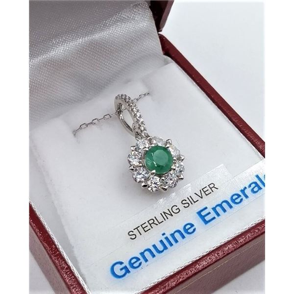 STERLING SILVER PENDANT AND CHAIN W/ NATURAL EMERALDS AND CZ W/ APPRAISAL $785