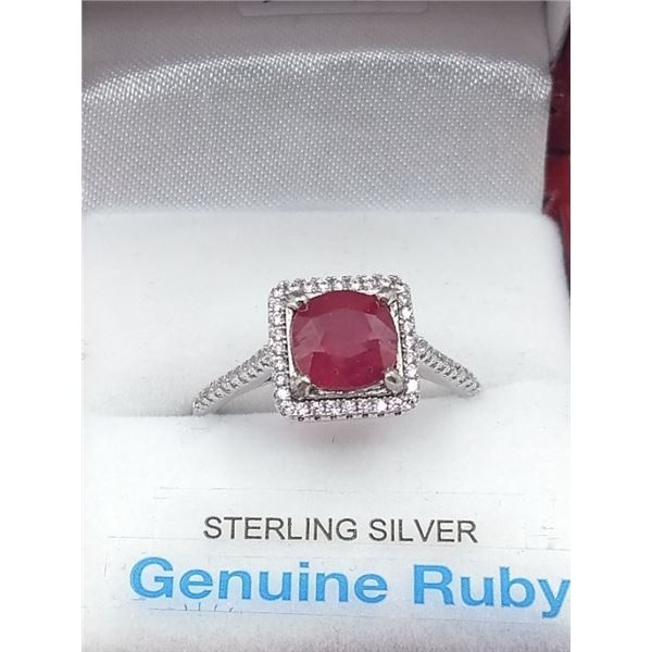 STERLING SILVER RING W/ RUBY GEMSTONE AND CZ W/ APPRAISAL $1120