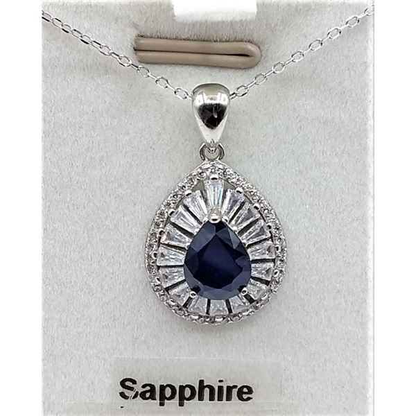 STERLING SILVER PENDANT AND CHAIN SET W/ PEAR SHAPE SAPPHIRE 3.2CTS AND 55 CZ W/ APPRAISAL $1255