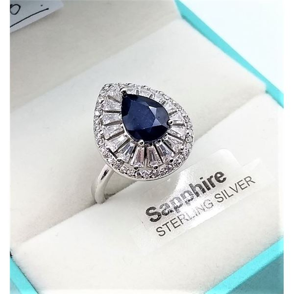 STERLING SILVER RING SET W/ PEAR SHAPE SAPPHIRE 3.28CTS AND 55 CZ W/ APPRAISAL $1195