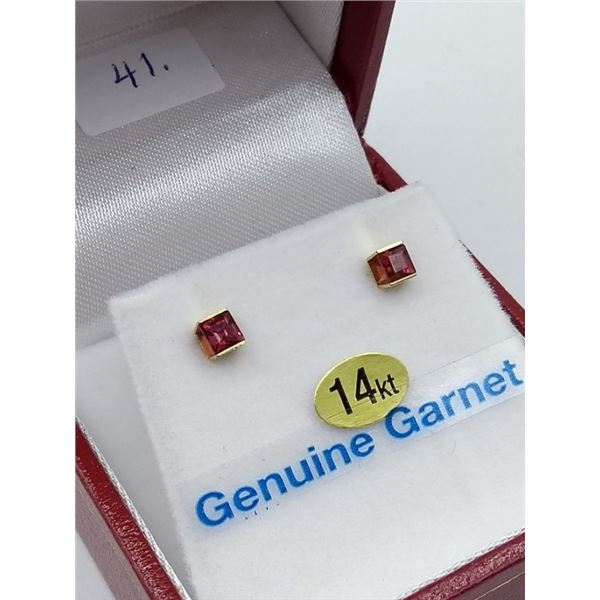 14KT GENUINE GARNET EARRINGS RETAIL  $200