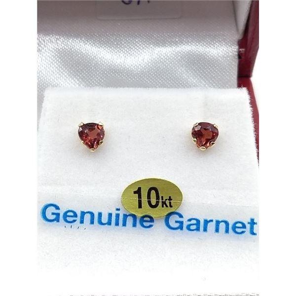 10KT YELLOW GOLD HEART SHAPE GARNET EARRINGS W/ APPRAISAL $600