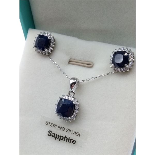 STERLING SILVER SAPPHIRE EARRINGS AND PENDANT SET W/ 16 INCH CHAIN ACCENTED W/ CZ W/ APPRAISAL $1195