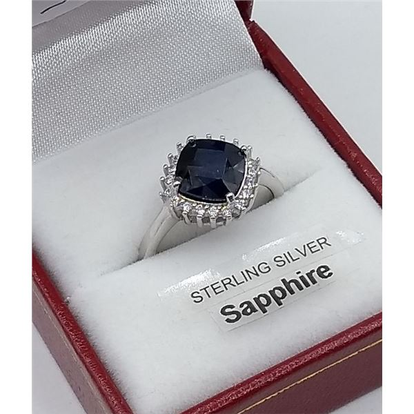 STERLING SILVER SAPPHIRE 3.5CT AND CZ RING W/ APPRAISAL $985
