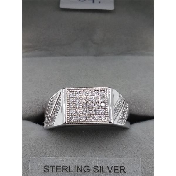 MENS STERLING SILVER CZ RING - RETAIL $550