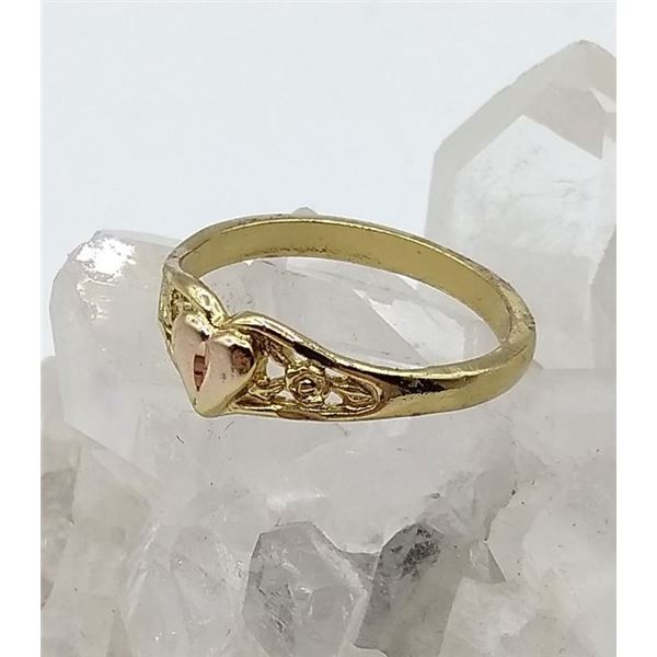 STERLING SILVER 10KT YELLOW AND ROSE GOLD VINTAGE STYLE HEART RING W/ APPRAISAL $855