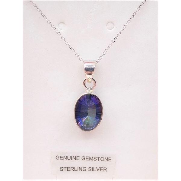 STERLING SILVER MYSTIC QUARTZ 3.5CTS PENDANT W/ SILVER CHAIN RETAIL $400