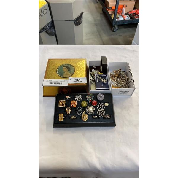 3 TRAYS AND TIN OF VARIOUS JEWELLERY