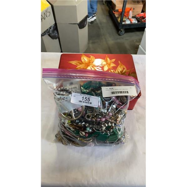 LARGE TIN OF JEWELLERY AND BAG