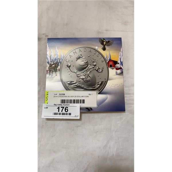 2014 CANADIAN SILVER 20 DOLLAR COIN ROYAL CANADIAN MINT .9999 SILVER